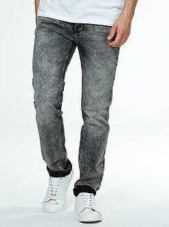 Grijze slimfit jeans met verwassen effect