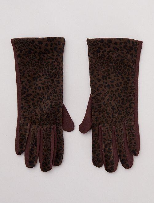 Handschoenen met luipaardprint                                         BRUIN