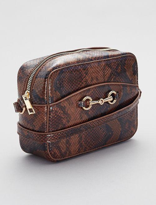 Handtas met slangeneffect                             BRUIN
