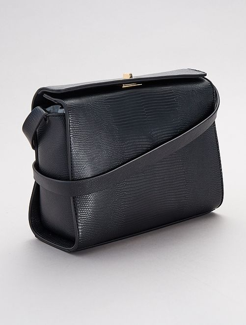 Handtas met slangeneffect                             zwart