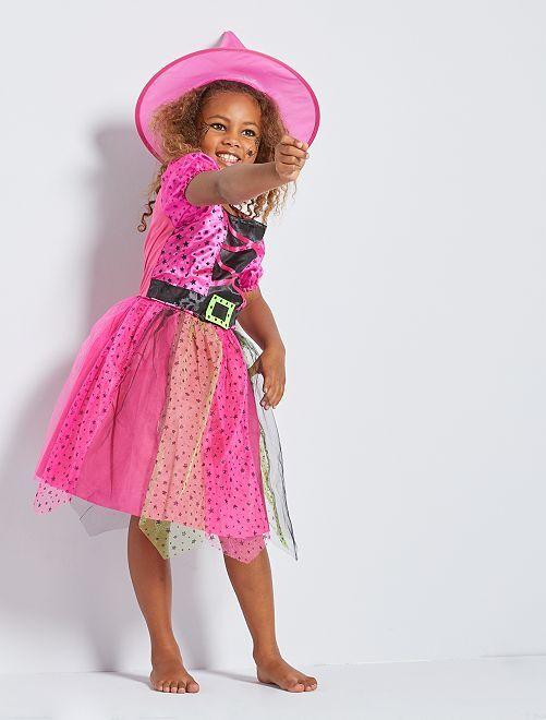 Heks verkleedkleding                             roze / zwart