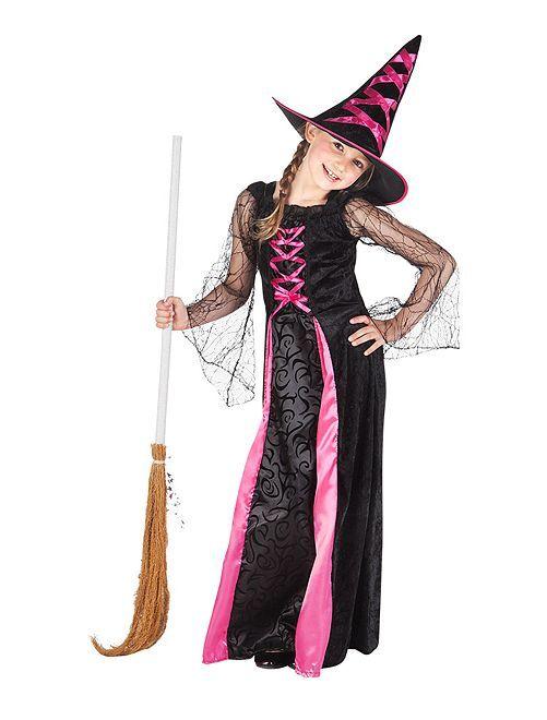Heks verkleedkleding                             zwart / roze