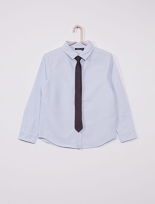 Hemd met stropdas                             blauw grijs