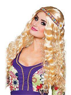 Accessoires Hippie-pruik met haarband.
