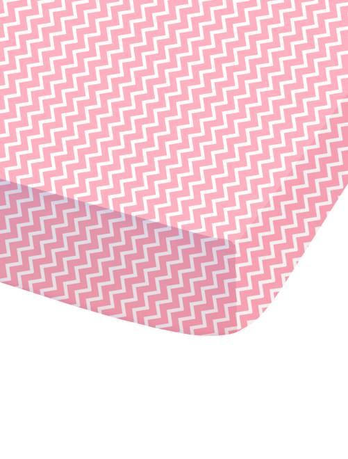 Hoeslaken met zigzagprint                             roze Woongoed