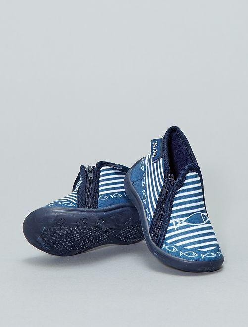 Hoge pantoffels met leren zool                             BLAUW Schoenen