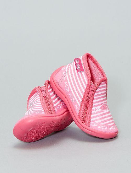 Hoge pantoffels met leren zool                             roze