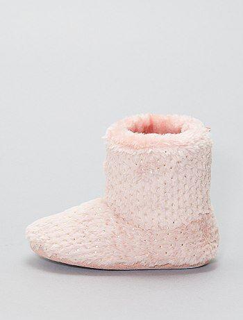 Hoge pantoffels van zacht tricot - Kiabi