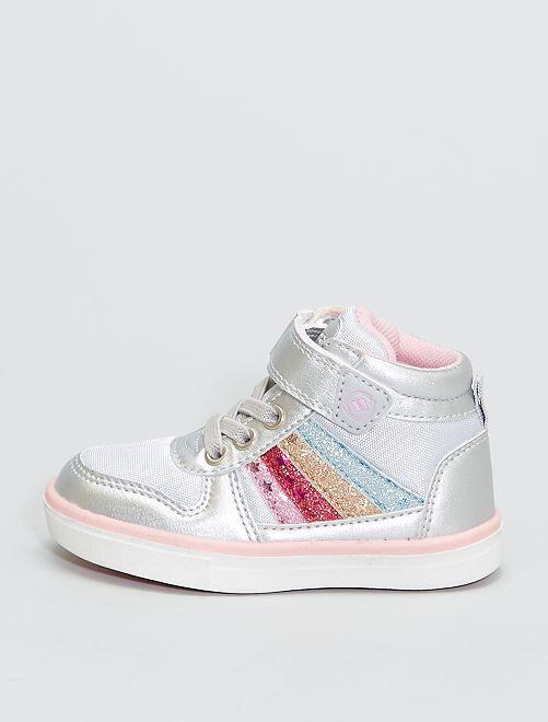 Hoge sneakers 'regenboog'                             BIEGE