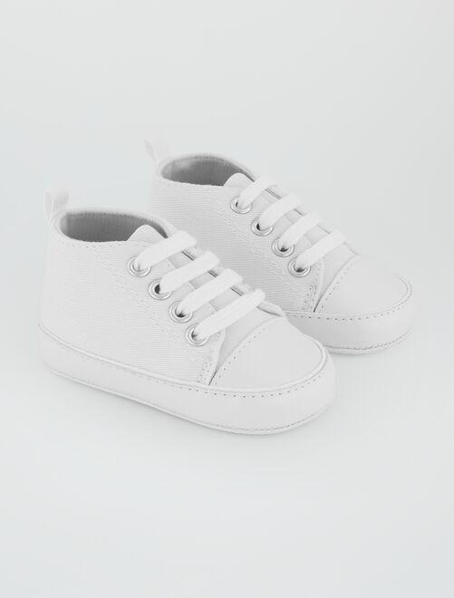 Hoge stoffen sneakers                                                                                         wit Jongens babykleding