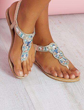 Imitatieleren sandalen met details op het bandje - Kiabi