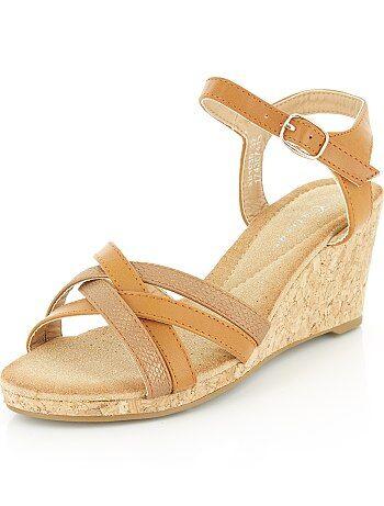Imitatieleren sandalen met sleehak - Kiabi
