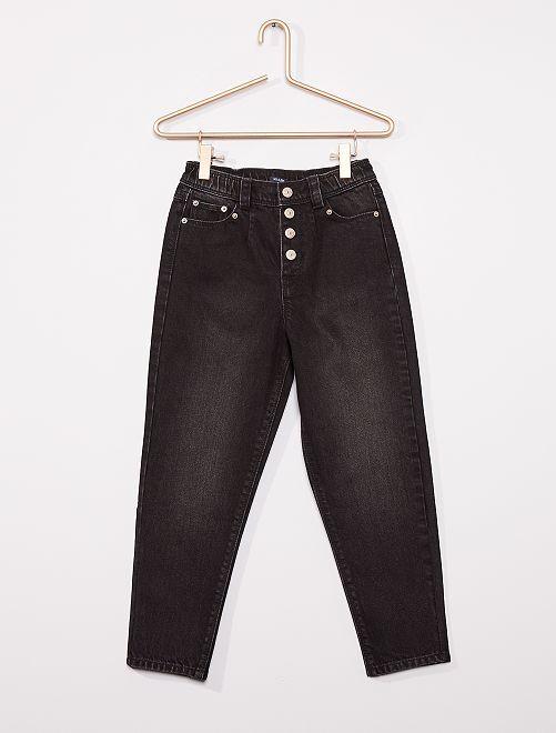 Jeans met hoge taille                                                                 ZWART
