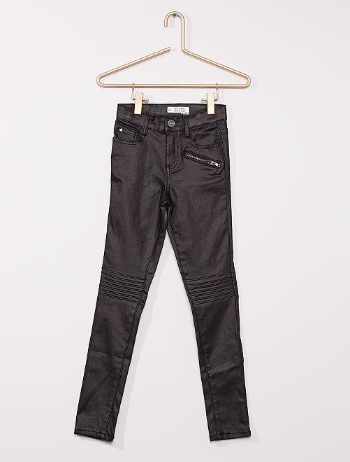 Jeans van gecoat denim voor slanke kinderen                                         zwart