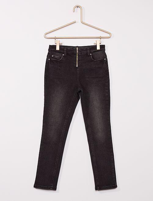 Jeans van gecoat denim                             ZWART