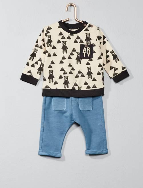 Joggingpak met sweater en broek WIT Jongens babykleding