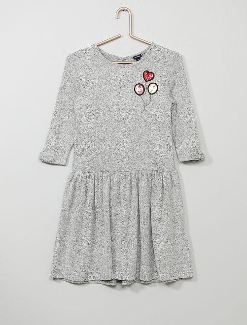 Jurk met lovertjes van zacht tricot                                                                 GRIJS Kinderkleding meisjes