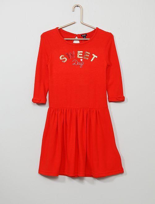 Jurk met lovertjes van zacht tricot                                                                 ROOD Kinderkleding meisjes