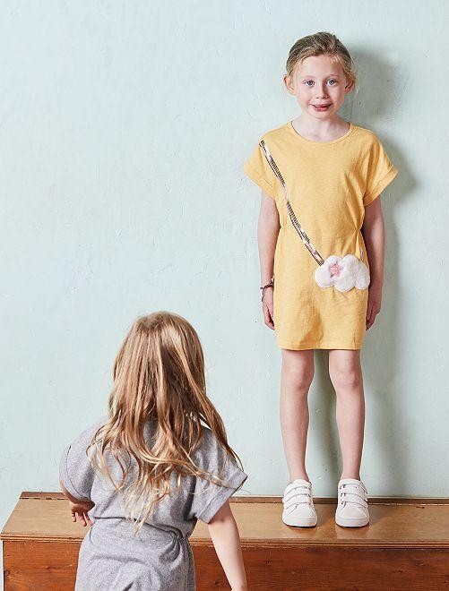 Jurk met poes van synthetisch bont                             GEEL Kinderkleding meisjes