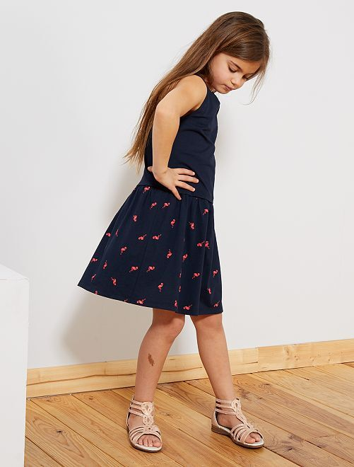 Jurk van biologisch katoen                                 BLAUW Kinderkleding meisjes