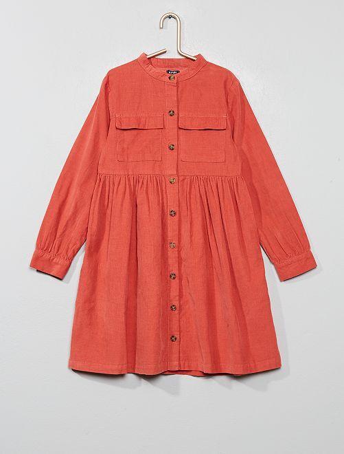Jurk van ribfluweel                             roze Kinderkleding meisjes