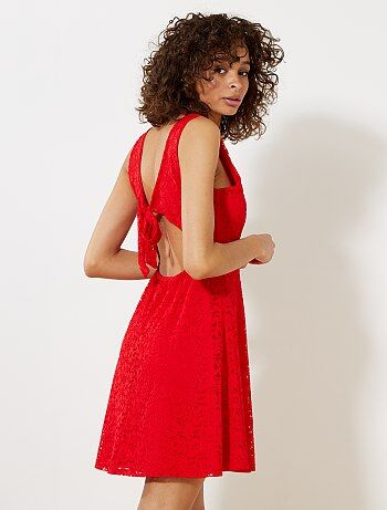 Kanten jurk met blote rug - Kiabi