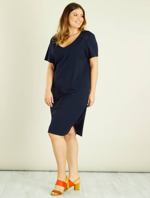 Kanten jurk met een V-hals BLAUW Dames size+