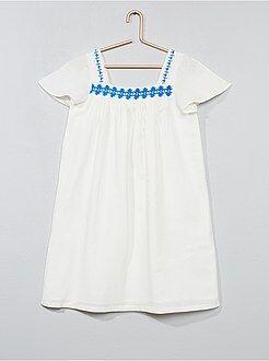 Katoenen jurk met borduursels - Kiabi