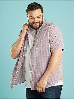 Herenmode grote maten Katoenen overhemd recht model met print