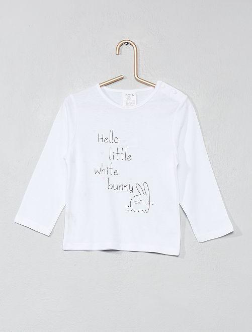 6f34b56e83d478 Babykleding Wit.Katoenen T Shirt Met Opschrift Meisjes Babykleding Wit  Kiabi 1 60