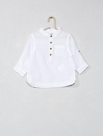 Katoenvoile overhemd met een kraag in mao-stijl - Kiabi
