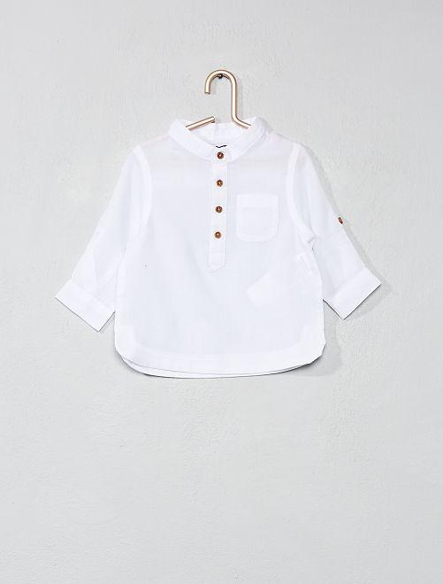 Katoenvoile overhemd met een kraag in mao-stijl                                         wit