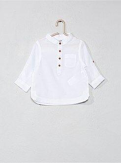 Blouse - Katoenvoile overhemd met een kraag in mao-stijl