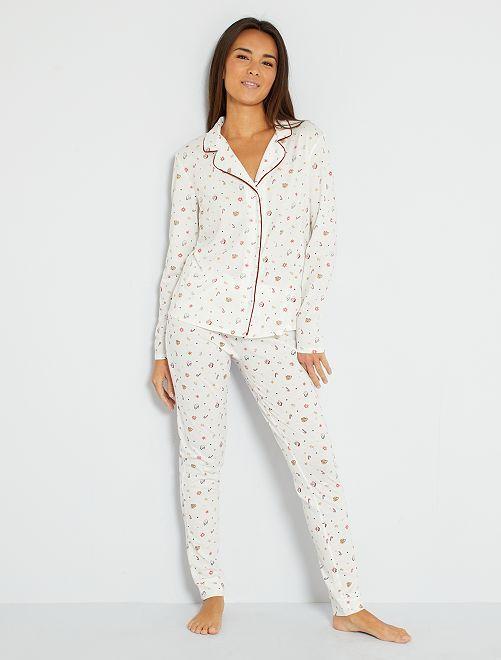 Pyjama van jerseystof met print                     WIT