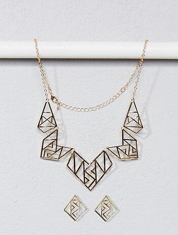 Ketting en oorbellen in geometrische vorm - Kiabi