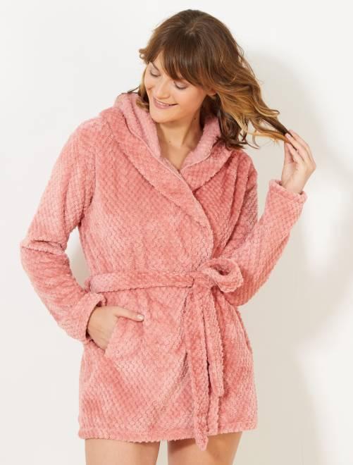 Korte badjas met imitatiebont                                         ROSE Lingerie maat s-xxl