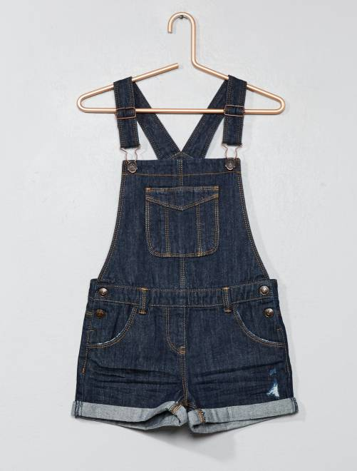 Korte denim tuinbroek                     BLAUW Kinderkleding meisjes