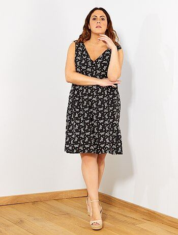 ba9c87fa2dd43b Dames Size+ - Korte jurk met een gekruiste rug - Kiabi