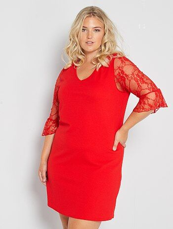 Korte jurk met kanten mouwen - Kiabi