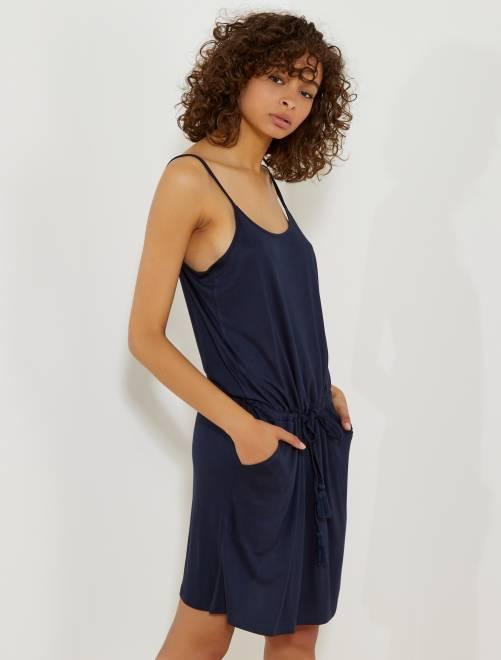 Korte jurk met smalle bandjes BLAUW Dameskleding