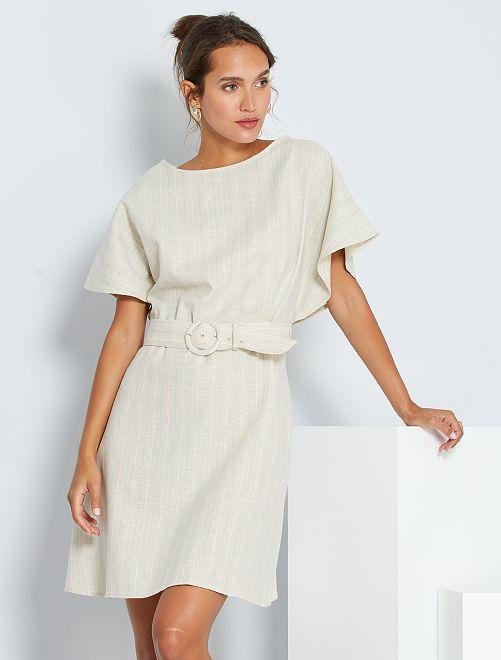Korte jurk van linnen en katoen                             WIT