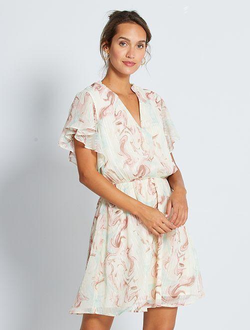 Korte jurk van voile                             WIT