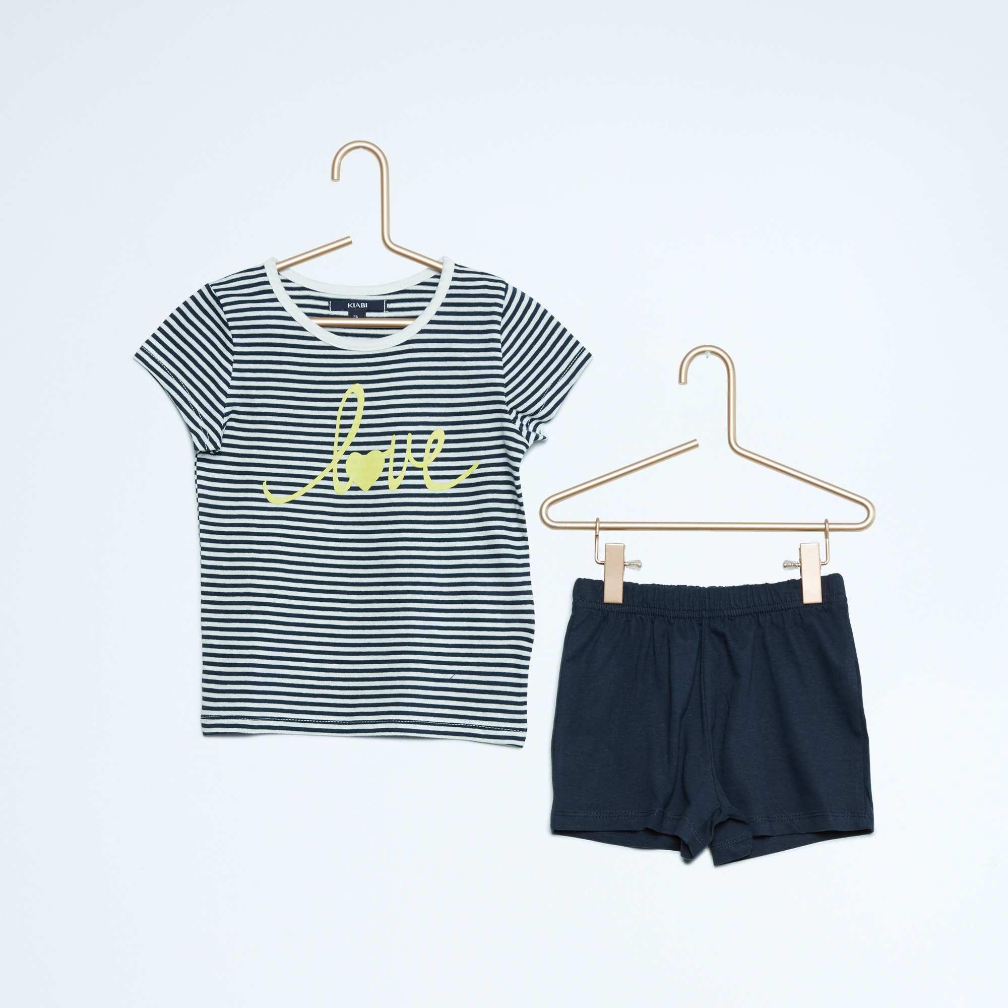 korte pyjama met print kinderkleding meisjes blauw kiabi 4 20. Black Bedroom Furniture Sets. Home Design Ideas