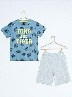 Korte pyjama met tijger- en dinosaurusprint