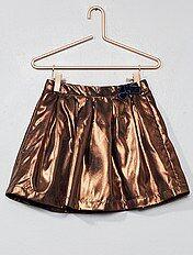Korte rok met koperkleurige draad