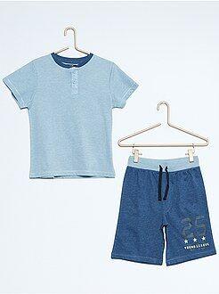 Pyjamas - Korte tweekleurige tricot pyjama