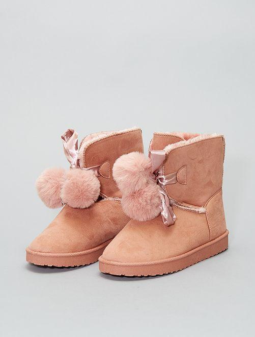 Laarsjes met bontvoering                                                     roze Schoenen