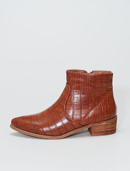 Laarzen met getextureerde hak                             khaki