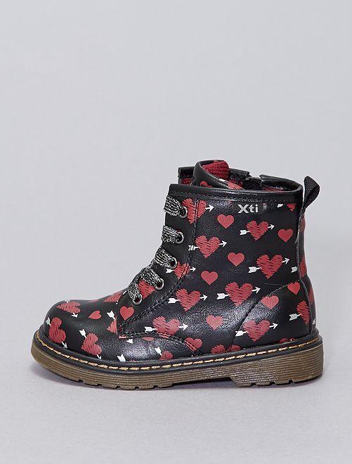 Laarzen van het type rangers met hartjesprint                             ZWART