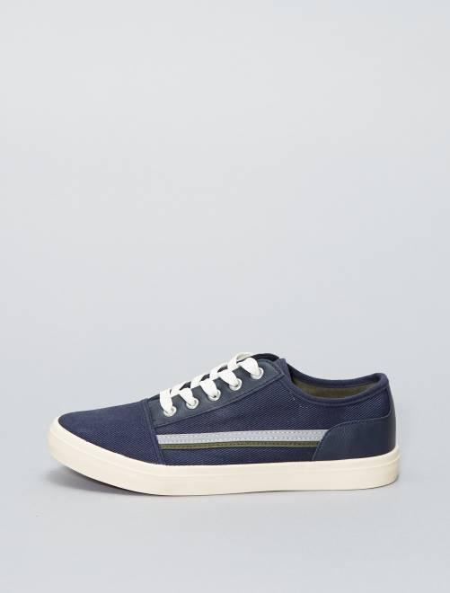 Lage stoffen sneakers marineblauw Schoenen